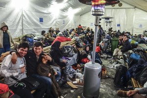 Asylum seekers waiting for a train at the Gevgelija camp. Photo: Tim Judah