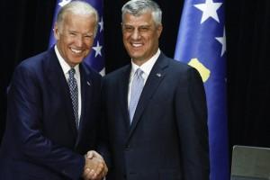 US Vice President Joe Biden with Kosovo President Hashim Thaci. Photo: Atdhe Mulla