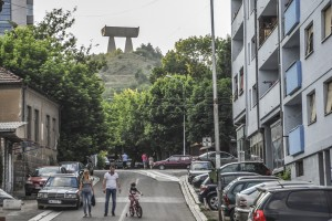 The Miner's Monument, built in 1973, overlooks Mitrovica. Photo: Atdhe Mulla