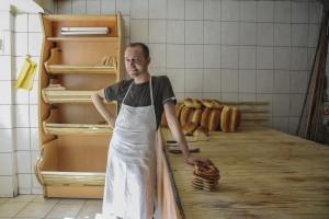 "Collaku the baker at the family bakery, ""Adriatiku,"" in South Mitrovica. Photo: Atdhe Mulla."