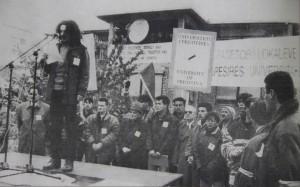 Albin Kurti, student protest leader addresses the crowd. | Photo: Bujku.