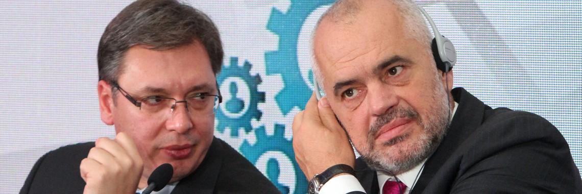 Serbian PM Aleksandar Vucic and Albanian PM Edi Rama   Photo by Sasa Djordjevic, Beta.
