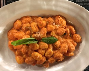 Gnocchi with mascarpone and tomato sauce.