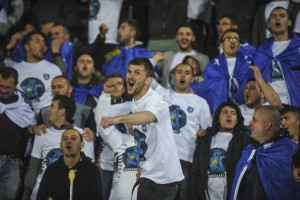 Kosovo supporters, called Dardanet, cheering for the team.  Photo: Atdhe Mulla.