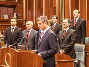 Hashim Thaci reading the Declaration of Independence on February 17, 2008.