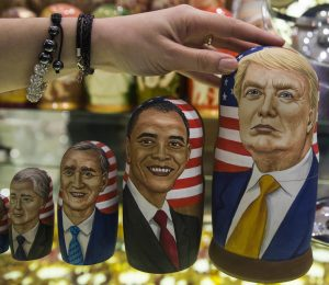 Traditional Russian wooden nesting dolls called Matreska displayed in a shop in Moscow, Russia. | AP Photo/Pavel Golovkin via Beta.