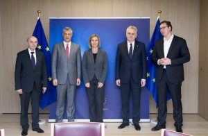 Brussels, January 24. Kosovo PM Mustafa and President Thaci meet with Serbian PM Vucic and President Nikolic in the presence of the EU High Representative for Foreign Affairs Federica Mogherini. | Photo: European Council/Beta