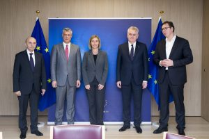 Brussels, January 24: Kosovo PM  Mustafa and President Thaci meet with Serbian PM Vucic and President Nikolic in the presence of the EU High Representative for Foreign Affairs Federica Mogherini.   Photo: European Council/Beta