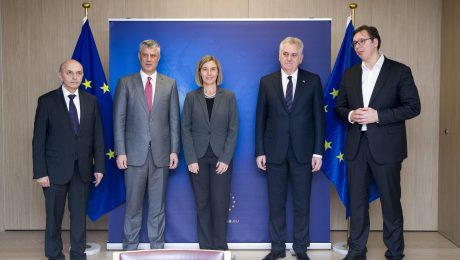 Brussels, January 24: Kosovo PM  Mustafa and President Thaci meet with Serbian PM Vucic and President Nikolic in the presence of the EU High Representative for Foreign Affairs Federica Mogherini. | Photo: European Council/Beta