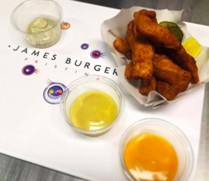 Chicken fingers at James Burger.   Photo: Facebook, James Burger