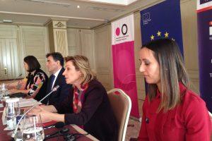 KGSC Executive Director Demolli, Minister of Public Administration Yagcilar, Head of EU Office Kosovo Apostolova, and report author Zymberi.   Photo: Nataliya Apostolova, EU Office Kosovo