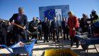 Kosovo President Thaci and Head of th eEU Office in Kosovo Apostolova at Merdare. | Photo: BIRN.