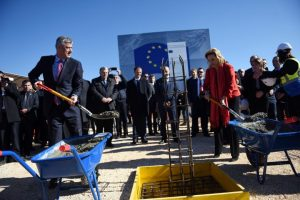 Kosovo President Thaci and Head of the EU Office in Kosovo Apostolova at Merdare. | Photo: BIRN.