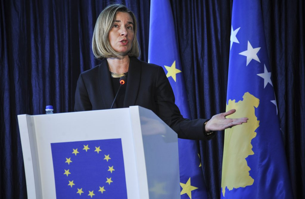 HR Mogherini during the press conference. | Photo: Atdhe Mulla.